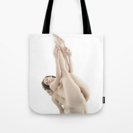 9412-KMA Nude Woman on Mirror Legs Feet Up High Key Fine Art Tote Bag