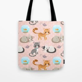 Cute Cat and Fish Pattern – Light Pink Polka Dots Tote Bag