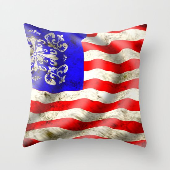 A wavy American flag Throw Pillow