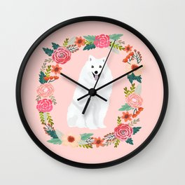 japanese spitz floral wreath dog breed pet portrait pure breed dog lovers Wall Clock