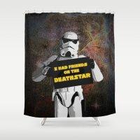 storm trooper Shower Curtains featuring Storm Trooper by ZeebraPrint