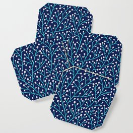 Berry Branches - Turquoise on Navy Coaster