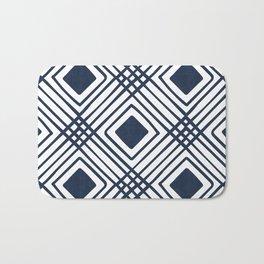 Criss Cross Diamond Pattern in Navy Blue Bath Mat
