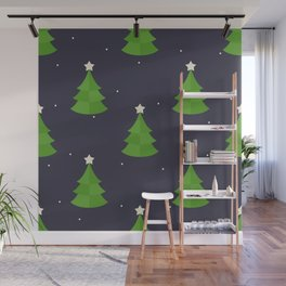Green Christmas Tree Pattern Wall Mural