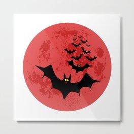 Vampire Bats Against The Red Moon Metal Print