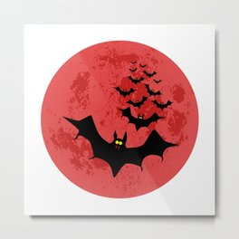Vampire Bats Against The Red Moon Metal Print