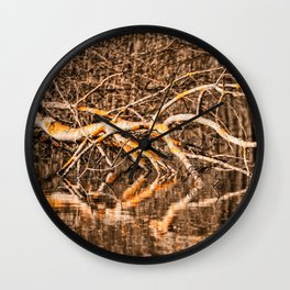 Deadwood in the pond Wall Clock