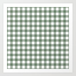 Plaid (sage green/white) Art Print