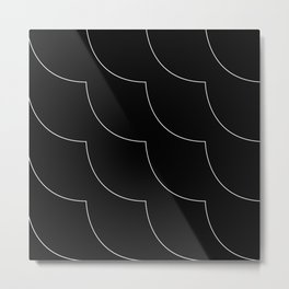 Minimalist White Curvy Lines on Black Background Pattern Metal Print