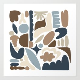 Modern Organic Abstract / Beach Colors - Browns and Blues Art Print