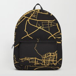 TEHRAN IRAN GOLD ON BLACK CITY MAP Backpack