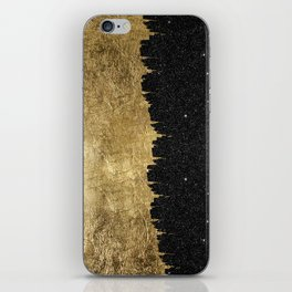 Faux Gold and Black Starry Night Brushstrokes iPhone Skin