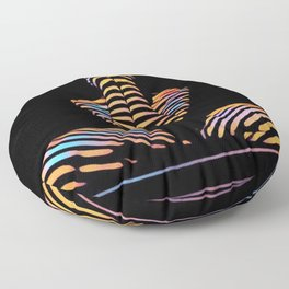 1183s-MAK Nude Abstract Striped Zebra Woman Hands Over Face by Chris Maher Floor Pillow