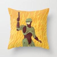 robocop Throw Pillows featuring Robocop by James White