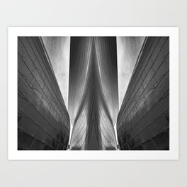 Architectural abstract captured in black and white from low perspective rendering a dramatic view. Art Print