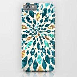 Glitter Dahlia in Gold, Aqua and Ocean Green iPhone Case