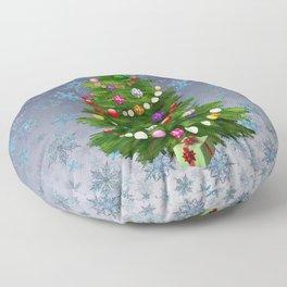 Christmas tree & snow v.2 Floor Pillow
