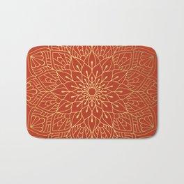 Gold Mandala Pattern On Red Bath Mat
