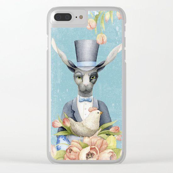 Beautiful Floral Flowers Animal Easter Bunny  on #Society6 Clear iPhone Case
