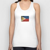 philippines Tank Tops featuring Old and Worn Distressed Vintage Flag of Philippines by Jeff Bartels