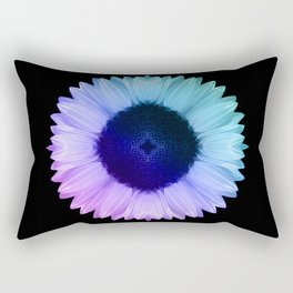 Iridescent Geometric Sunflower Decor \\ Symmetrical Flowers Pink Purple Blue Nature Bohemian Style Rectangular Pillow