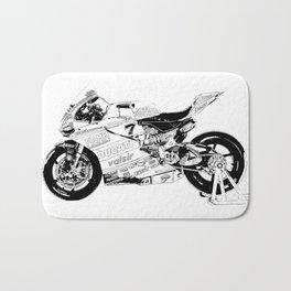 Motorcycle black and white, original race motorcycle Bath Mat