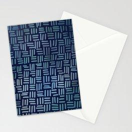 NAVY CROSSHATCH.  Stationery Cards