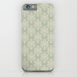 Sage Green and Cream Damask Pattern iPhone Case