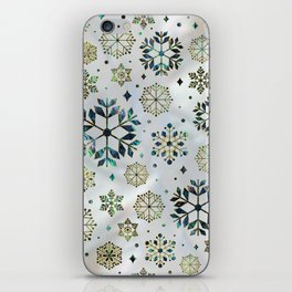 Festive Golden Abalone Shell Snowflake pattern iPhone Skin