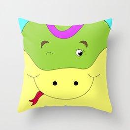 Cute female snake in love children's illustration Throw Pillow