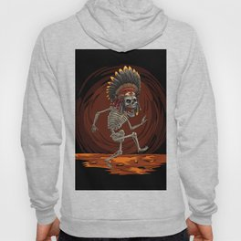 The dance of death, Cartoon hand drawn indian chief skeleton, Halloween scary illustration Hoody