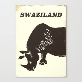 Swaziland Rhino vintage style travel poster Canvas Print