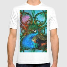The peacock universe White MEDIUM Mens Fitted Tee