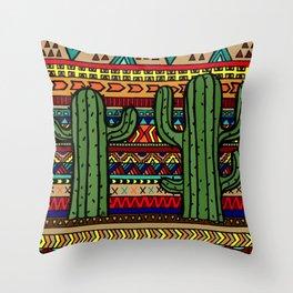 aztec cactus Throw Pillow