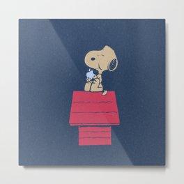 Snoopy eats Steve Apple Metal Print