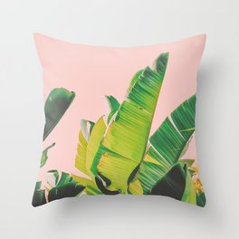 Banana Leaves III (Pink) Throw Pillow