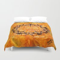 religious Duvet Covers featuring John 3:16 Religious Abstract Art by Saribelle Rodriguez  by Saribelle Inspirational Art