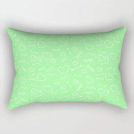 Mint Green and White Valentines Love Heart and Arrow Rectangular Pillow