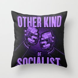 """Vintage """"The Other Kind of Socialist"""" Alcoholic Lithograph Advertisement in vivid purple Throw Pillow"""