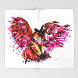 Flying Owl Throw Blanket