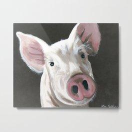 Pig Painting, Up Close Pig, Farm Animal Painting Metal Print