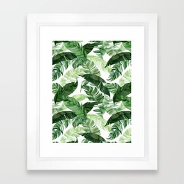 Green leaf watercolor pattern Framed Art Print