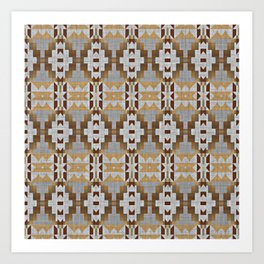 Brown Taupe Tan Gray Native American Indian Mosaic Pattern Art Print