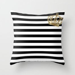 Black and White Stripes and Gold Crown 2 Throw Pillow