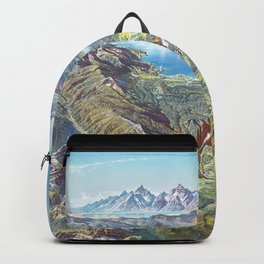 Heinrich Berann - Panoramic Painting Yellowstone National Park with labels (1991) Backpack