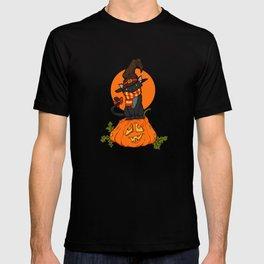 Witch Cat on Pumpkin Head T-shirt