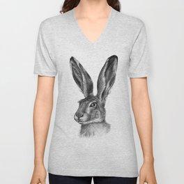 Cute Hare portrait G126 Unisex V-Neck