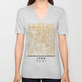 LYON FRANCE CITY STREET MAP ART Unisex V-Neck