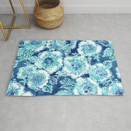 HIBISCUS BOUNTY Blue Tropical Watercolor Rug
