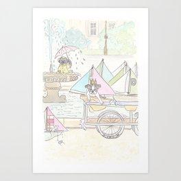 Boston Terrier and Sailboats in Paris Fountain Art Print